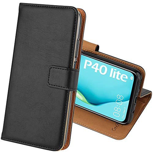 GeeRic Compatible Cover for Huawei P40 Lite, Flip Case Wallet Leather Case Cellphone Shell Magnetic Closure Holder, Case Compatible with Huawei P40 Lite Black