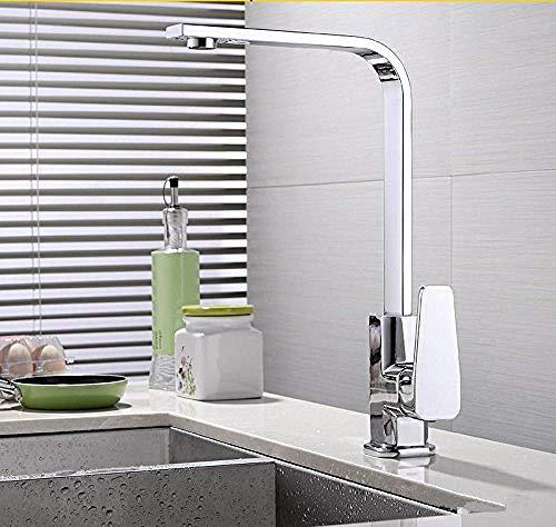 Grifo del lavabo del baño Grifo del lavabo Mezclador de lavado Grifo del lavabo Latón Agua fría y caliente Giratorio Blanco antiguo Cromado Monomando para baño Grifos monomando