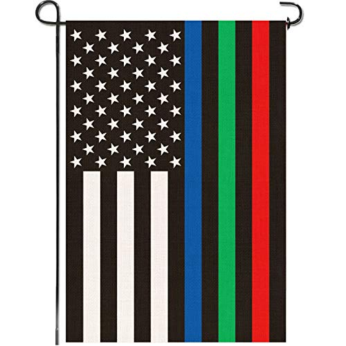 Mogarden Thin Blue Green Red Line Garden Flag, Double Sided 12.5 x 18 Inch, Support Police Military and Firefighters, Premium Burlap Small American First Responders USA Yard Flag