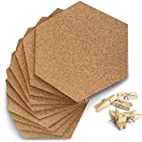 Premium Hexagon Cork Board Tiles - 10 Pack - Extra Thick - Ultra Strong Self Adhesive Back - Cork Tiles for Walls in Home, School, Dorm, Office - Bonus 50 Wooden Clamp Push Pins