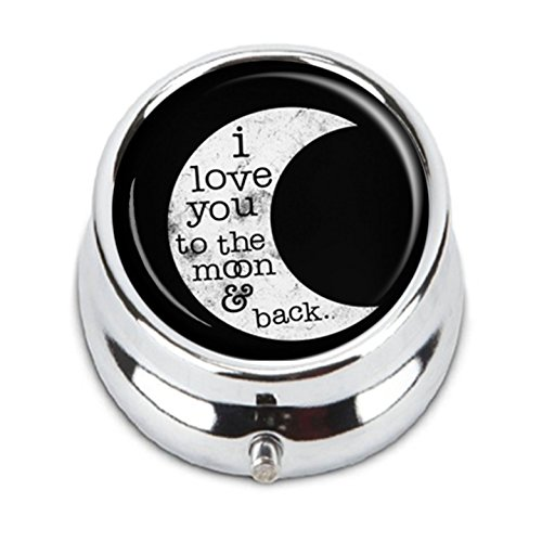 FQJNS I Love You To The Moon And Back Custom Fashion Round Pill Box Tablet Holder Pocket Purse Organizer Case Decoration Box