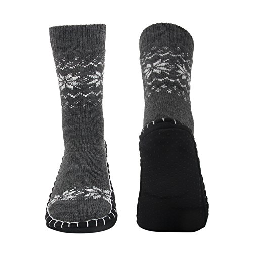 Vihir Hüttensocken Herren Winter, Dicke Pantoffel Socken, Rutschfeste Hausschuh Socken, Weiche Stoppersocken, Slipper Socken, Bequeme Warme Hüttensocken Strick Winter, Schneeflocken-Grau One Size