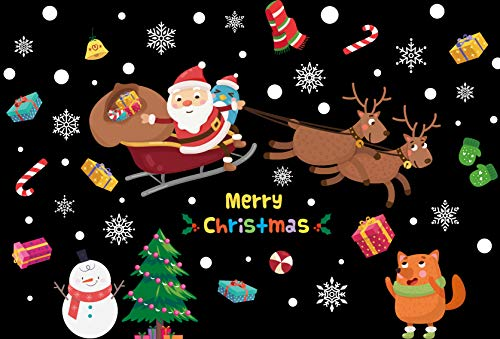 Natale Adesivi Porta Natale Vetrofanie Addobbi Fai da te Finestra Sticker Decorazione Babbo Natale Adesivo Vetrina Wallpaper Adesivi Rimovibile Adesivi Non è necessaria la colla (Natale Adesivi-4)