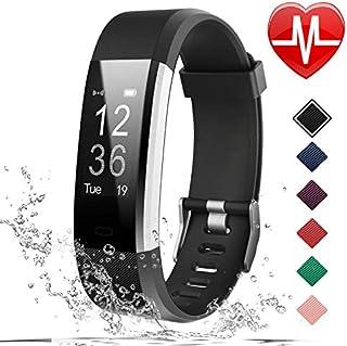 LETSCOM Rastreador deportivo HR, reloj de seguimiento de actividad con monitor de ritmo cardíaco, brazalete inteligente impermeable con contador de pasos, contador de calorías, podómetro, reloj para niños mujeres y hombres