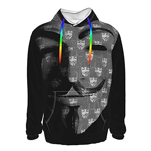 Vend-Etta - Sudadera con capucha para hombre, manga larga, bolsillo con cordón, para hombre, adolescentes, color negro