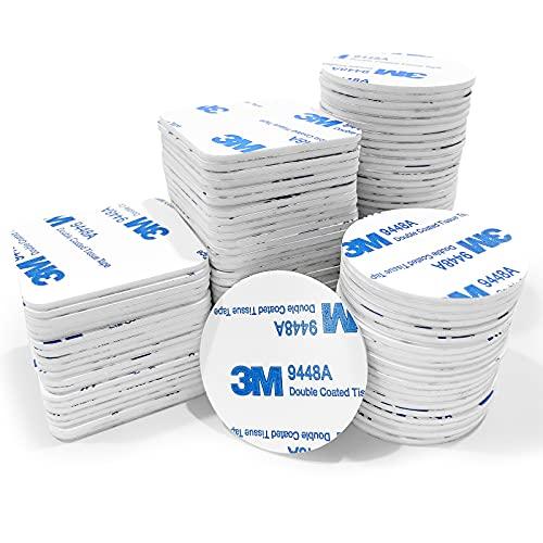 Klebepads Doppelseitig Extra Stark 128 Stück, KEELYY Doppelseitige Schaumstoff-Pads quadratische und runde 40mm*40mm Weißes Klebepads für Zuhause, Auto, Büro