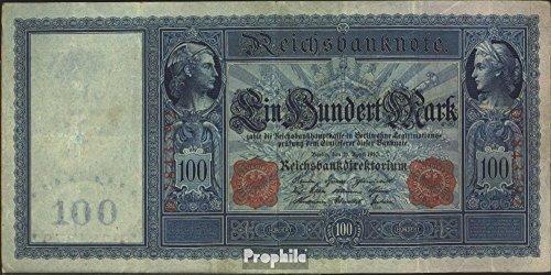 Deutsches Reich Rosenbg: 43, rotes Siegel gebraucht (III) 1910 100 Mark Flottenhunderter (Banknoten für Sammler)