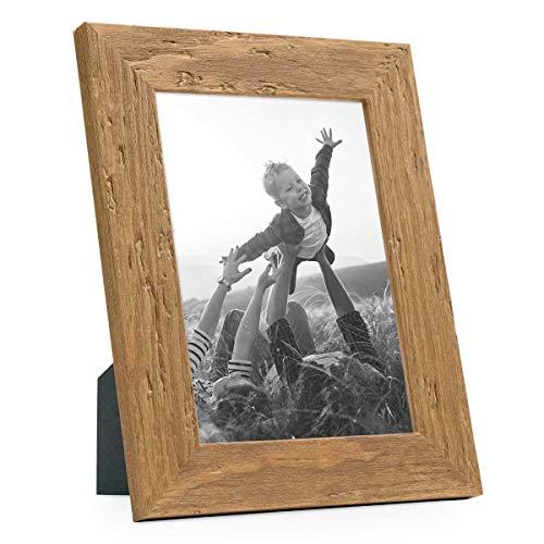 PHOTOLINI Bilderrahmen 13x18 cm Strandhaus Rustikal Eiche-Optik Natur Massivholz mit Glasscheibe inkl. Zubehör/Fotorahmen
