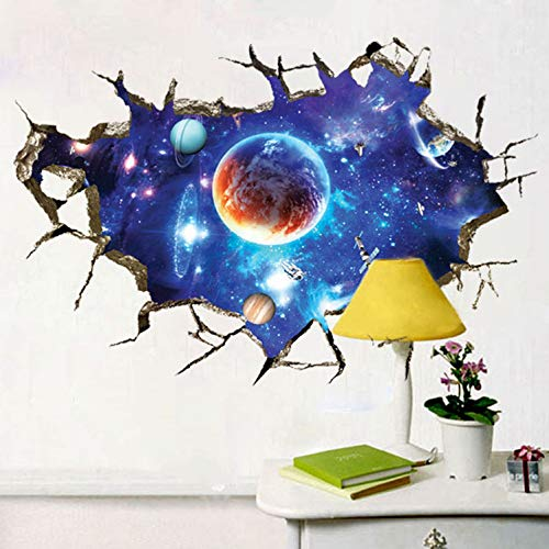 Fandhyy Strong Packing for 3D Planets Wall Stickers Outer Space Wall Poster for Kids Room Kindergarten Ceiling Decoration
