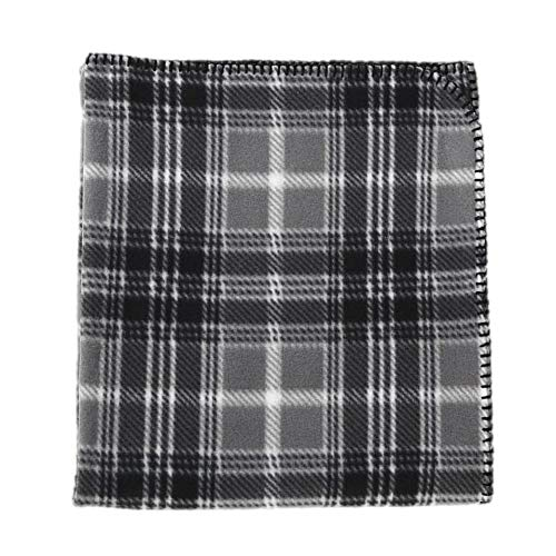 Cannon Throws Fleece Blanket, Plaid, 50-inches by 60-inches (Grey...