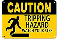 注意トリッピングハザードウォールメタルポスターレトロプラーク警告ブリキサインヴィンテージ鉄絵画装飾バーガレージカフェのための面白いハンギングクラフト