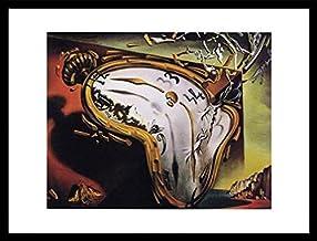 1art1 Salvador Dali Póster Impresión Artística con Marco (Madera DM) Negro - Les Montres Molles (80 x 60cm)