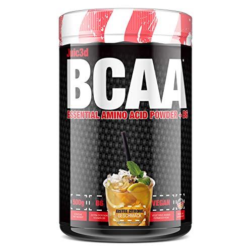 sinob Juic3d BCAA (Eistee Zitrone). Instant Aminosäure Pulver. Vegan, Vitamin B6, Aminos 2:1:1 Leucin, Isoleucin, Valin. 1 x 500g