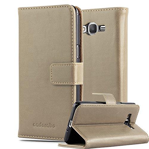Cadorabo Hülle für Samsung Galaxy Grand Prime - Hülle in Cappucino BRAUN – Handyhülle im Luxury Design mit Kartenfach & Standfunktion - Hülle Cover Schutzhülle Etui Tasche Book