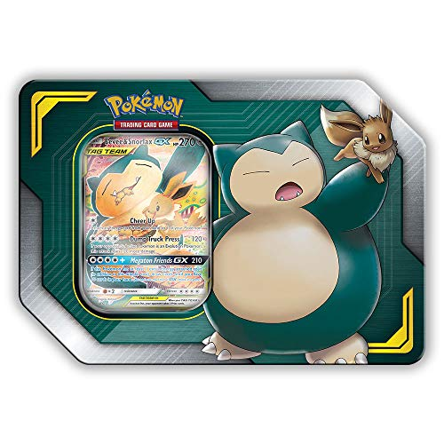 Pokemon TCG: Sun & Moon Team Up Collectors Tin Containing 4 Booster Packs and Featuring A Foil Eevee & Snorlax GX Card