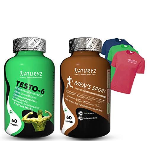 Naturyz testo 6 supplement for men & Triple Strength fish oil (Testo 6 with Advanced Daily Multivitamin)