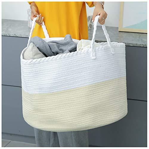 catalpa yao Cesta de cuerda de algodón XXXL grande de 55 x 35 cm para la colada con asas para mantas, juguetes y cesta tejida para guardería (blanco y beige)