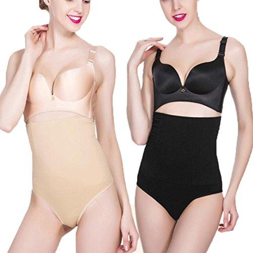 Libella 2er Pack Damen Miederslips Miederstring Miedertanga mit Bauch-Weg-Effekt figurenformend Shapewear Schwarz+Haut XL/XXL