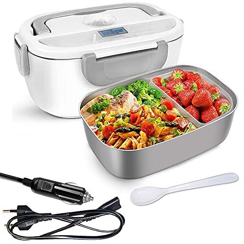 GalaxyHome Lunch Box Chauffante Électrique - Gamelle Chauffante 3 En 1 Pour Voiture, Maison, Camping, Et Bureau - 220v 12v/24v - Lunch Box Isotherme Chaud En Acier Inoxydable (Gris)