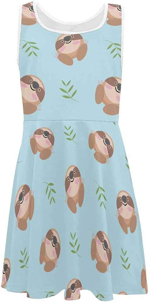 InterestPrint Classic Girls Sleeveless Dress Summer Casual Dresses Cute Rabbit Pattern (2T-XL)