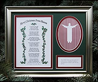 Merry Christmas From Heaven Remembrance Frame - Religious Memorial Bereavement Picture Photo Frame - A Sympathy Antique Silver/Pewter Patina Picture Frame with Poem and Photo Cutout