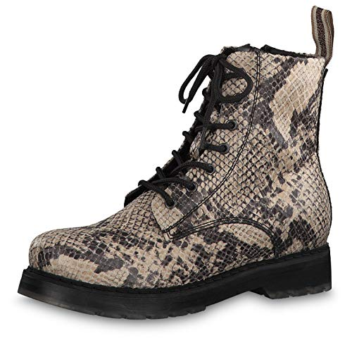 Tamaris Damen Stiefeletten 25924-33, Frauen Schnürstiefelette, elegant Women's Woman Freizeit leger Stiefel Chukka Boot,BEIGE Snake,39 EU / 5.5 UK