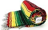 Open Road Goods Rasta Blanket or Hippie Blanket - Traditional Mexican Blanket/Mexican Falsa Blanket in Rasta Colors