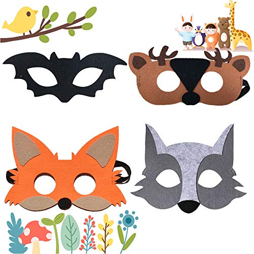 VENTCY Tiermasken Filz Masken Kindermasken, Elastischen Seil für Halloween Weihnachten Geburtstag Bühnenaufführungen Thema Party, 4 Stück