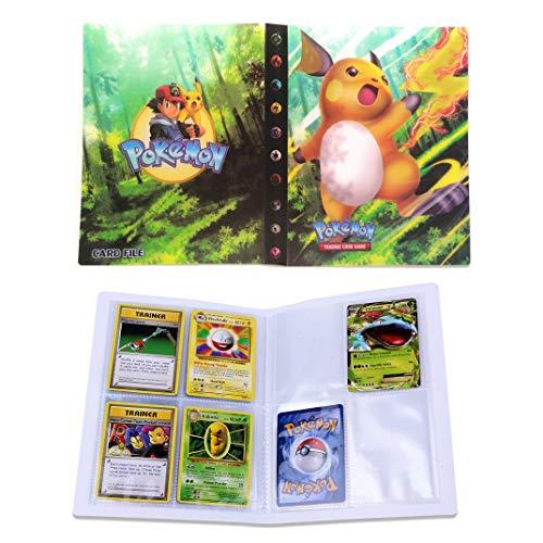 Dorara Sammelkarten Album, Album für Pokemon Karten GX und EX, Spielkarte Album Binder, Hält 120 Karten einzeln oder 240 doppelt (Raichu)