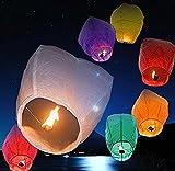 Rainbow love - Lote de 10 farolillos Chinos Wish Balloon Lamp Wishing Light for Wedding Birthday Christmas Party, Papel de arroz, Surtidos, 33 x 86 cm