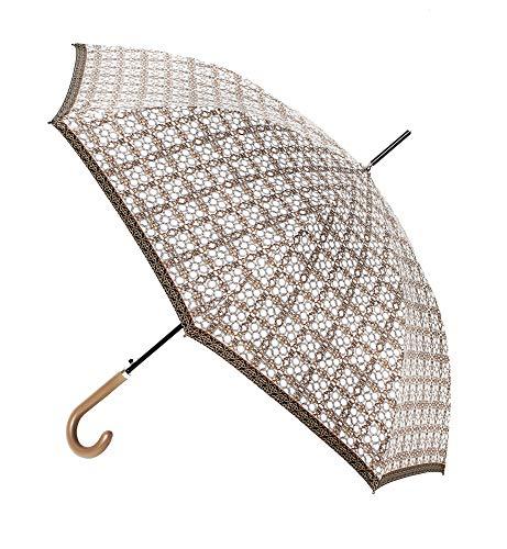 Elegante Paraguas Vogue de Estilo clásico. Paraguas Mujer. Estampados con Motivos Cadenas. Paraguas automático, antiviento y Acabado Teflón. (Estampado Fondo Claro Cadenas Doradas)