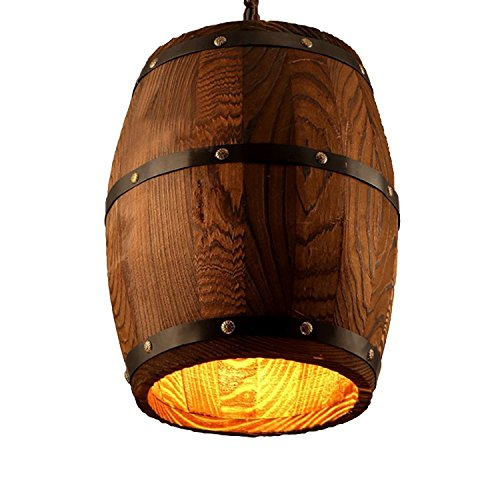"""Wood Wooden Wine Barrel Shade Ceiling Light Fixture Pendant Retro Industrial French Country Vintage Antique Chandelier Restaurant Bar Pendant Lamp Nostalgic Cafe (9.45"""" Width X 13"""" Height)"""