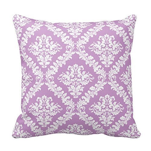 Lavender, White Damask Pattern Throw Throw Pillow Cover For Living Room, Sofa, Etc
