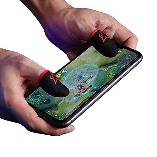 Dedales para Jugar al Movil Transpirable Gaming Disparos sensibles al Sudor para Cuchillos para Android y iOS, PUBG Mobile Game Finger Sleeve, Anti-Sudor Pantalla táctil de Dedo Manga Transpirable