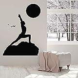 Yoga Pilates Postura Gimnasia Deporte Estilo de vida Paisaje Atardecer Pájaros Etiqueta de la pared Vinilo Arte Calcomanía Dormitorio Sala de estar Estudio GIMNASIO Club Oficina Decoración para e
