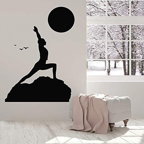 HFDHFH Postura de Yoga Tatuajes de Pared Paisaje de la Naturaleza Sala de meditación Dormitorio Zen decoración de Interiores Vinilo Adhesivo para Ventana Quitar Papel Tapiz