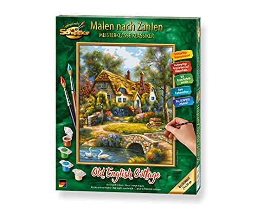 Schipper 609240831 Malen nach Zahlen, Old English Cottage - Bilder malen für Erwachsene, inklusive Pinsel und Acrylfarben, 24 x 30 cm