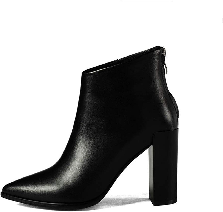 Mina damer Booslipss, Fall Winter Stiletto Heel Peent Toe Toe Toe Ankle stövlar Woherrar Party Pointed läder Thick Heel Martin stövlar (färg  C, Storlek  33)  factory outlet online rabatt försäljning