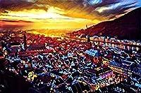 DSJHK 風景ジグソーパズル1000ピース日の出都市木製パズルクリエイティブDiy趣味ゲームチャレンジアートおもちゃ大人の子供のための