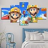DXNB Cuadros modulares Decoración del hogar 5 Tablero Arte de la Pared Juego Moderno Super Mario Bros. Impresión en Lienzo Pintura Minimalismo Dormitorio Poster 30x40 30x60 30x80cm Sin Marco