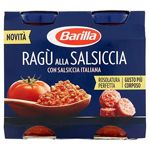 Barilla Sugo alla Salsiccia, Salsa Pronta al Pomodoro Italiano, Salsiccia e Carni Selezionate, Senza Glutine, 2 Barattoli da 180 g
