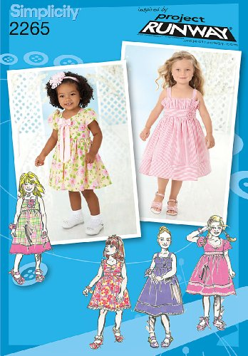 Simplicity Project Runway Pattern 2265 Girls Dress in 2 Lengths with Bodice Variations Sizes 4-5-6-7-8