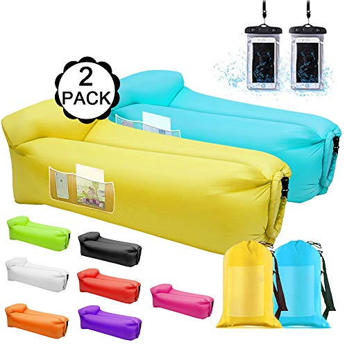 Air Sofa Inflatable Loungers,2 Pack Inflatable Couches and Sofas - Water Proof&Anti-Air Leaking Blow Up Couch Air Lounger Hangout Sofa For Beach,Parties,Travelling,Camping, Hiking,Picnics(Blue&Yellow)