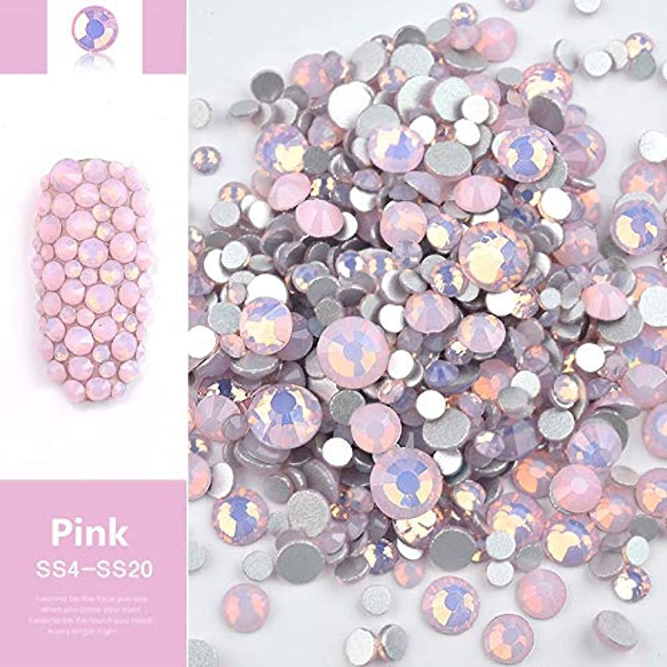 オーディション背景商品ALEXBIAN ビーズ樹脂クリスタルラウンドネイルアートミックスフラットバックアクリルラインストーンミックスサイズ1.5-4.5 mm装飾用ネイル (Color : Pink)