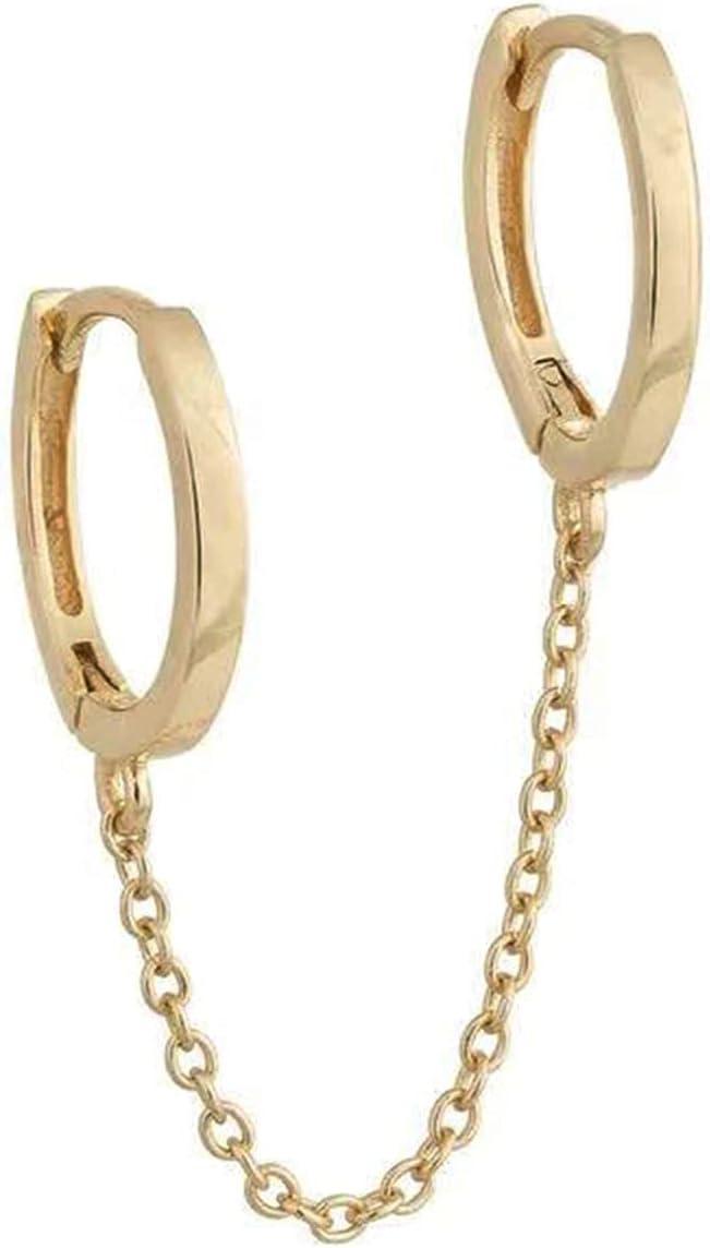 Hoop Earrings 1pc Chain Decor Ear Cuff (Color : Gold)