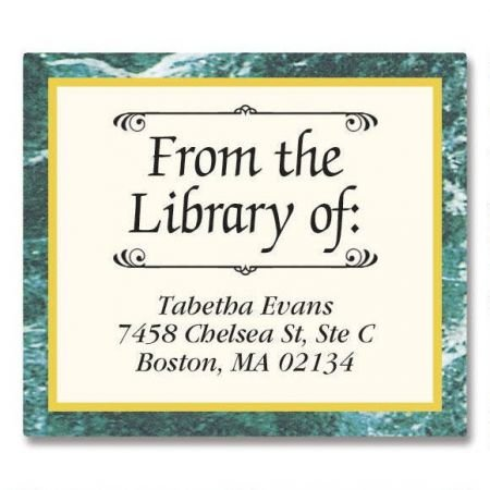 Personalized Green Marble Bookplates- Set of 144 Book Labels, 1-12' by 1-3/4'
