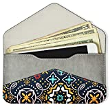 Women's Card Wallet Envelope Style Credit Card Holder Cute Cash Wallet for Ladies (Green Canvas with PU Leather)