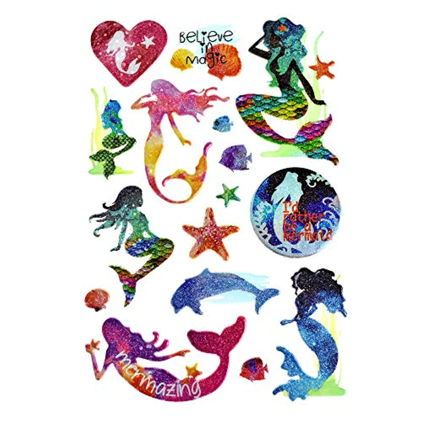 Homeford Ocean Mermaid 3D Puffy Glitter Stickers, 16-Piece
