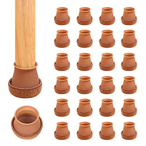 Ezprotekt 24 Stück Silikon-Stuhlbeinkappen Bodenschoner Stuhlbeine Cups Füße Pads Anti-Rutsch Stuhlpolster Abdeckungen Holzbodenschoner für 3,8 cm Beine rund braun