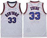 WSWZ Camiseta De Baloncesto NBA para Hombre - NBA Knicks 33# Camisetas De Patrick Ewing - Chalecos Cómodos Casuales Camisetas Deportivas Camisetas Sin Mangas,B,XL(180~185CM/85~95KG)